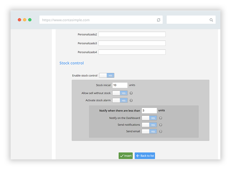 Customize the stock configuration of your products