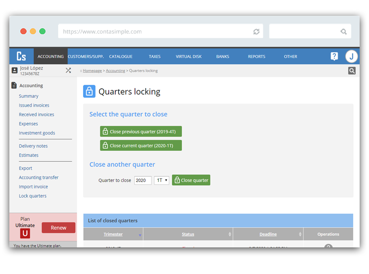Quarters locking in Contasimple
