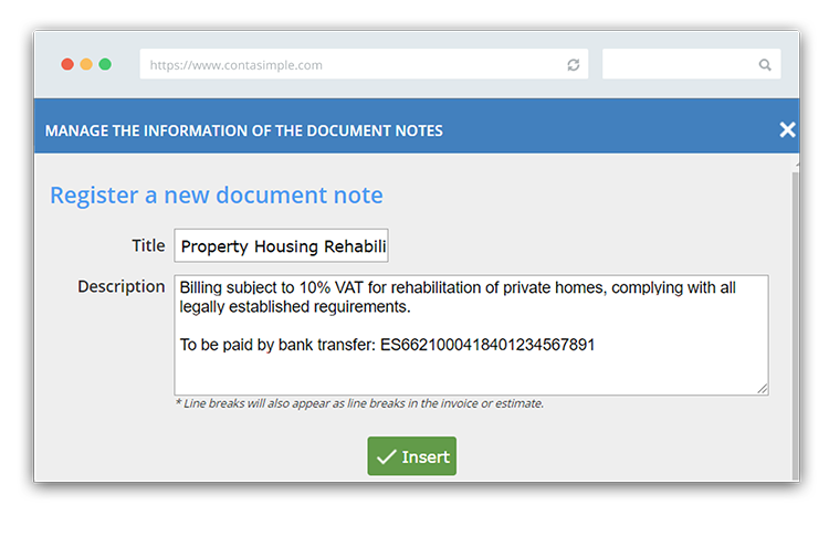 How to create construction invoice notes